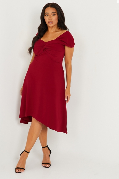 Curve Berry Knot Front Skater Dress
